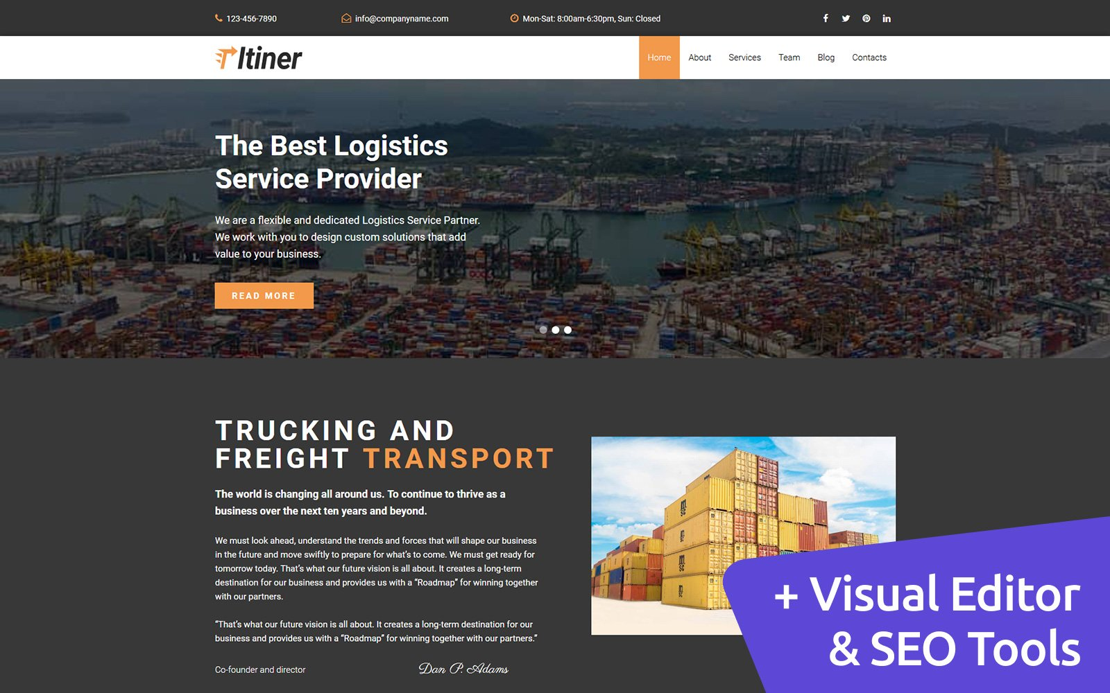 Itiner - Transportation Moto CMS 3 Template