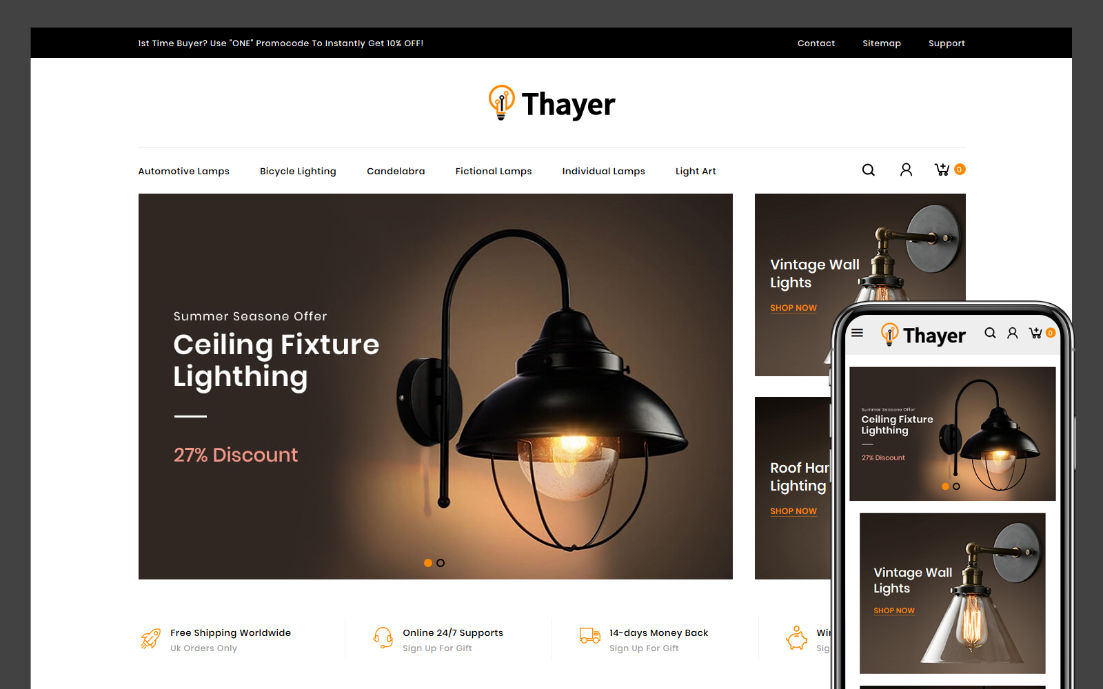Thayer - Lighting and Home Decor Store PrestaShop Theme
