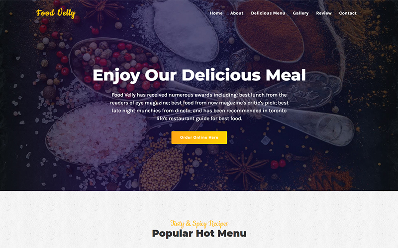 Food Velly - Food & Resturant HTML Landing Page Template