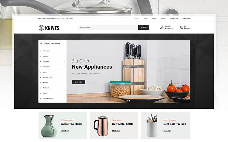Knives - Kitchen Accessories Store WooCommerce Theme