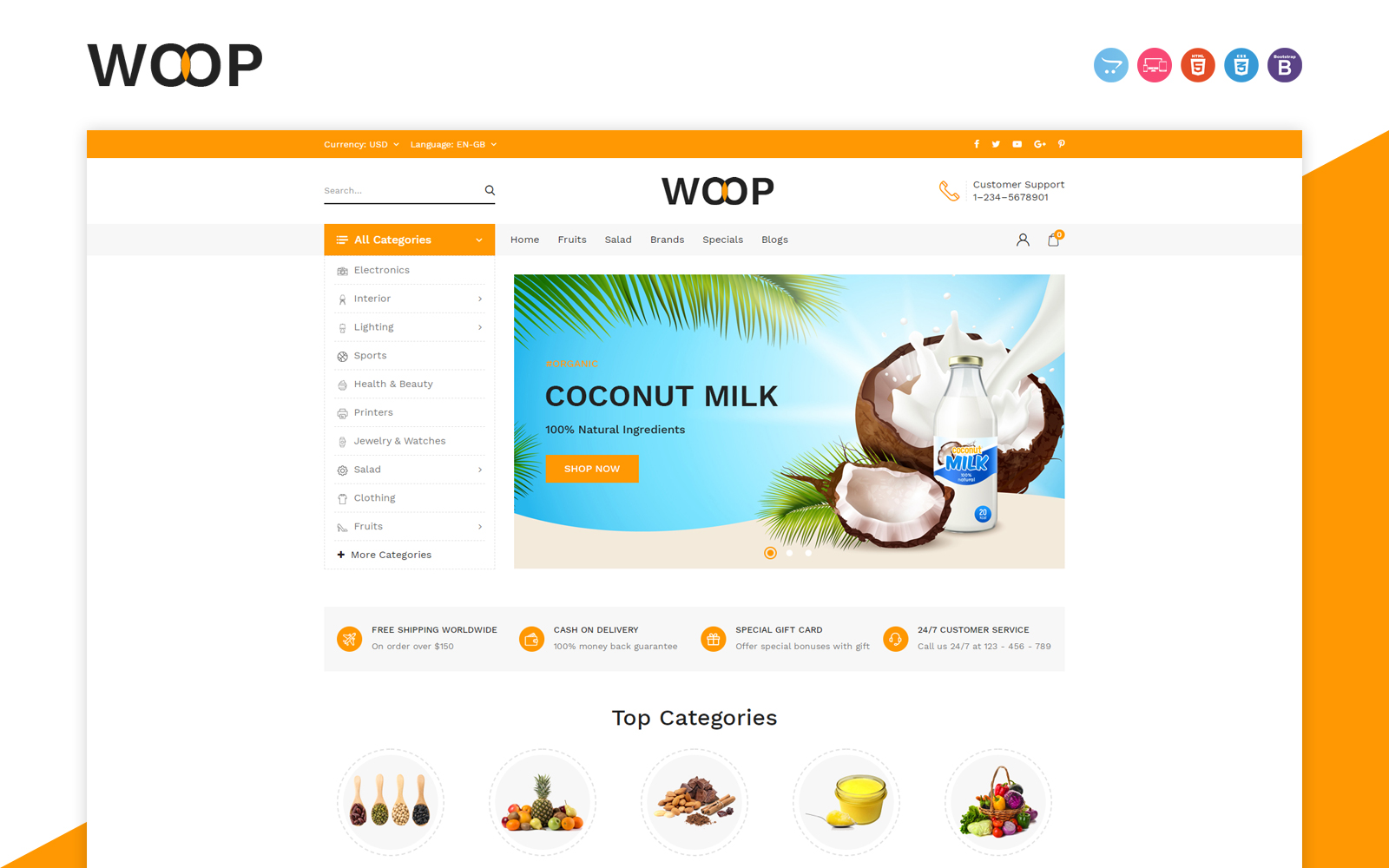 Woop Grocery Store OpenCart Template