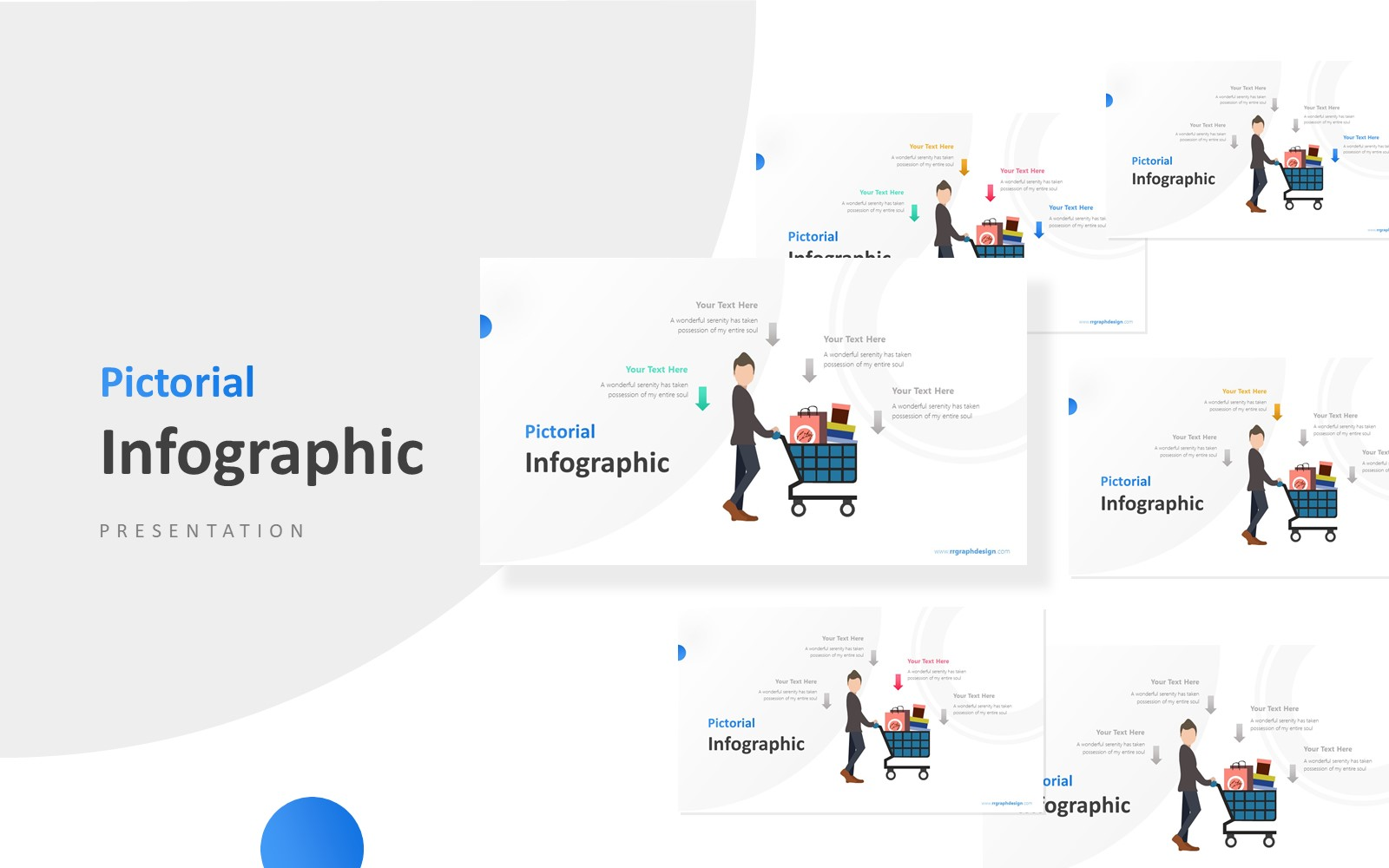 Shoping Cart with Businessman Infographic Presentation PowerPoint Template