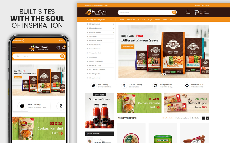 Dailytown - The Grocery & Food Responsive Premium Shopify Theme
