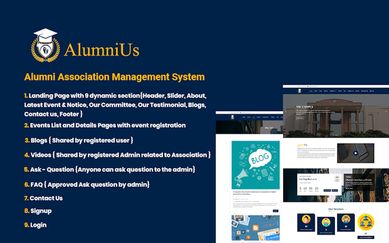 Alumnius- Laravel Association Management System Website Template