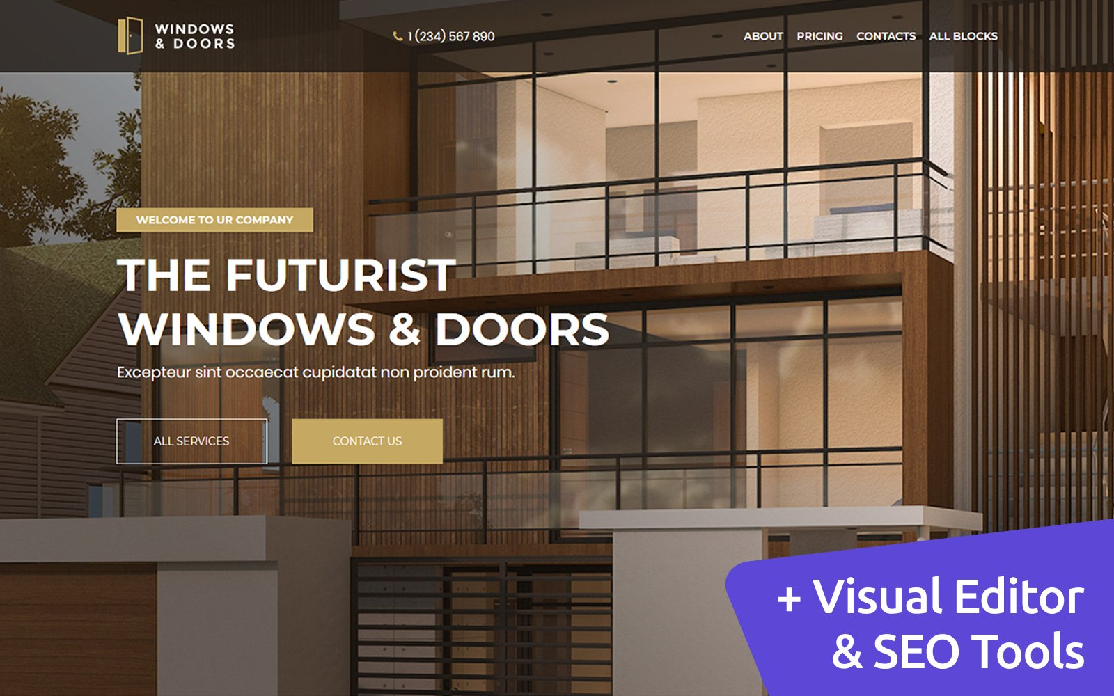 Windows and Doors MotoCMS Landing Page Template