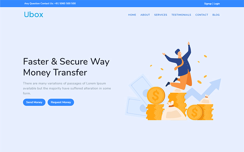Ubox - Online Money Transfer Banking Bootstrap Landing Page Template