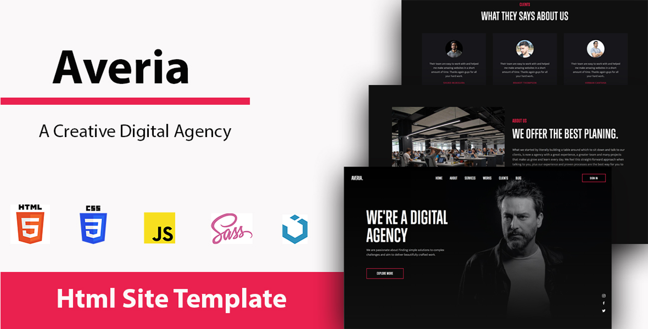 Averia- Digital Agency Landing Page Template