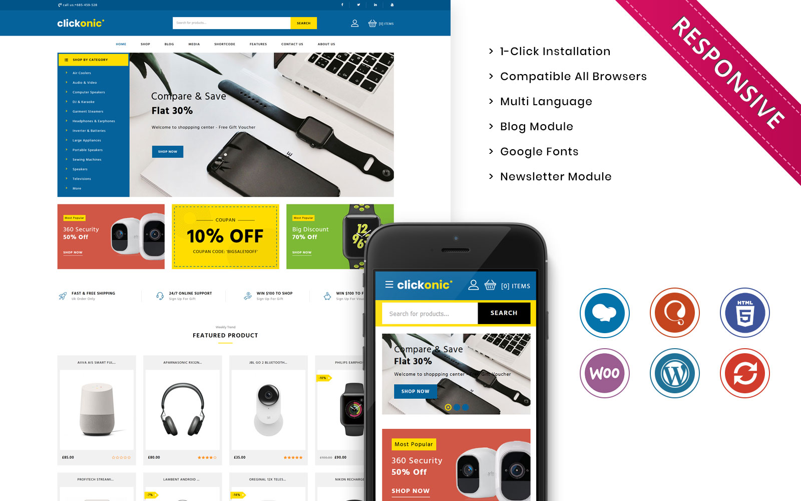Clickonic - The Mega Electronic Store WooCommerce Theme