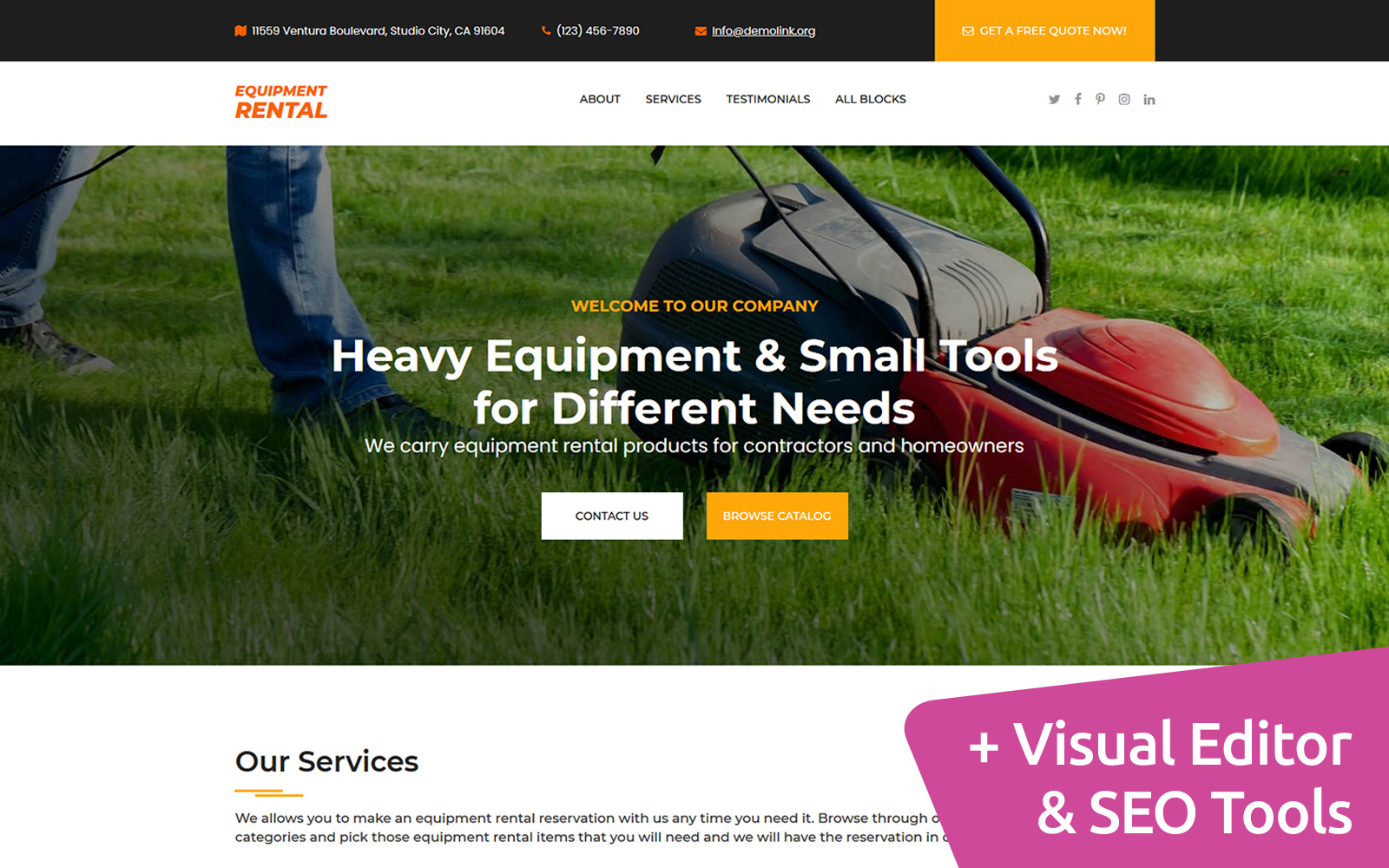 Equipment Rental MotoCMS Landing Page Template