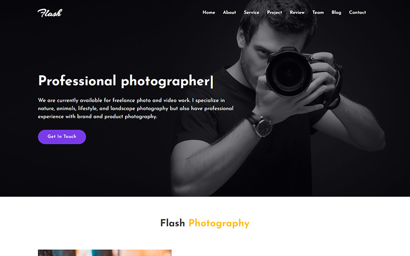 Flash - Photography Landing Page Template