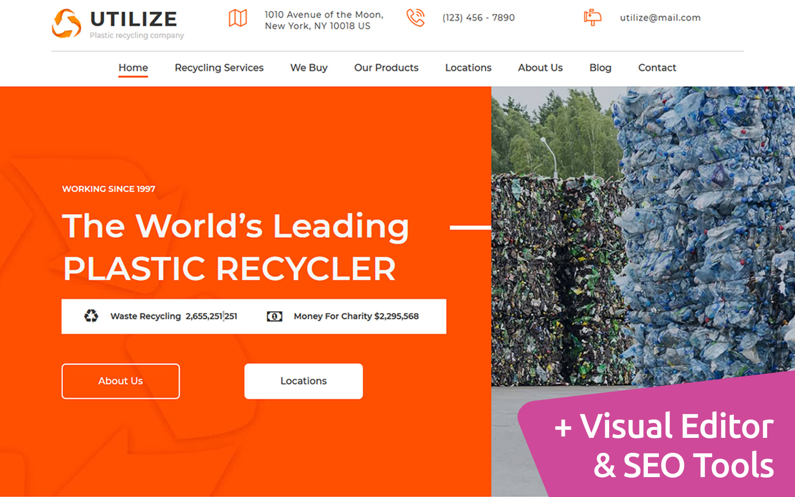 Utilize - Plastic Recycling Moto CMS 3 Template
