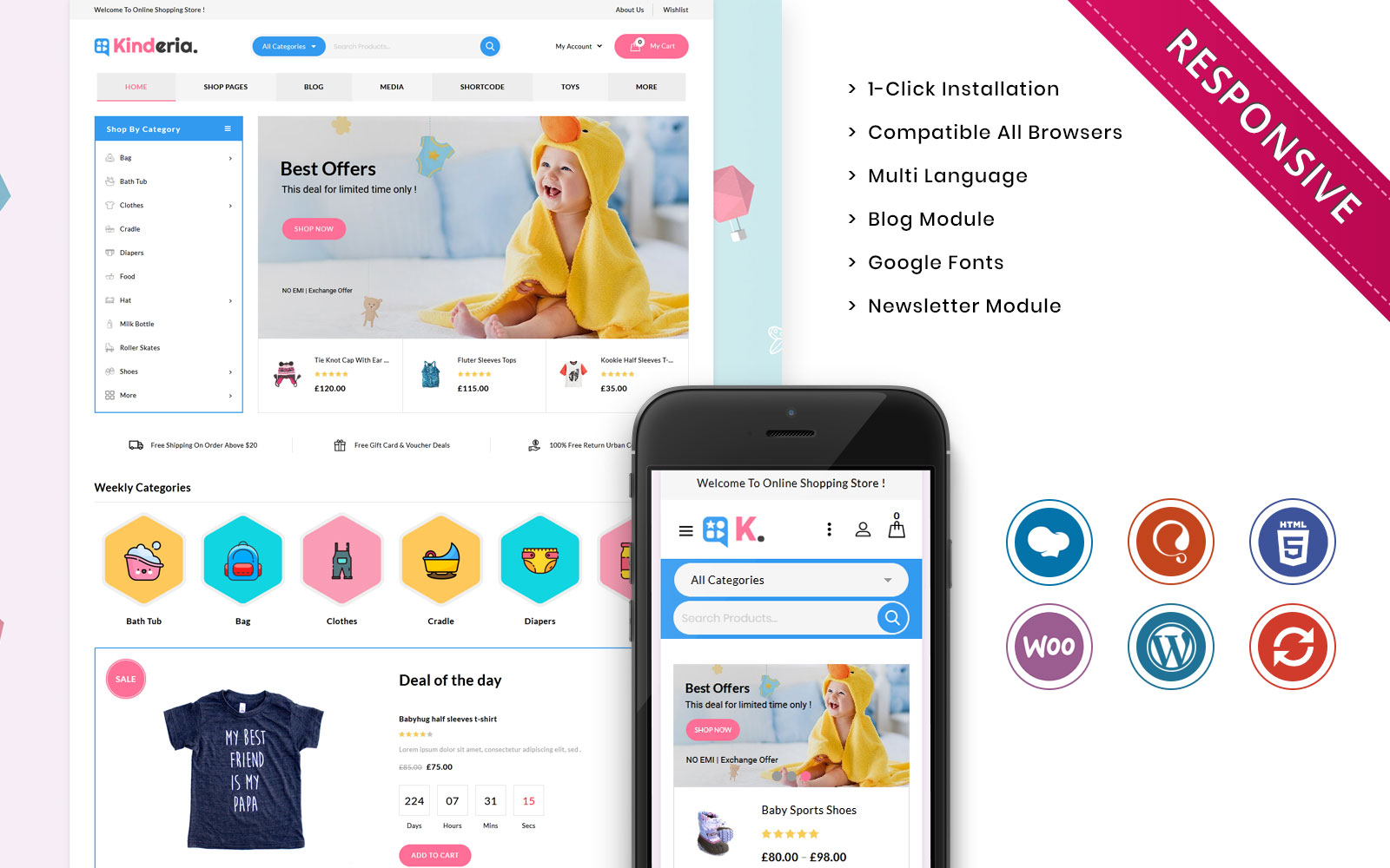 Kinderia - The Mega Kids Fashion Store WooCommerce Theme