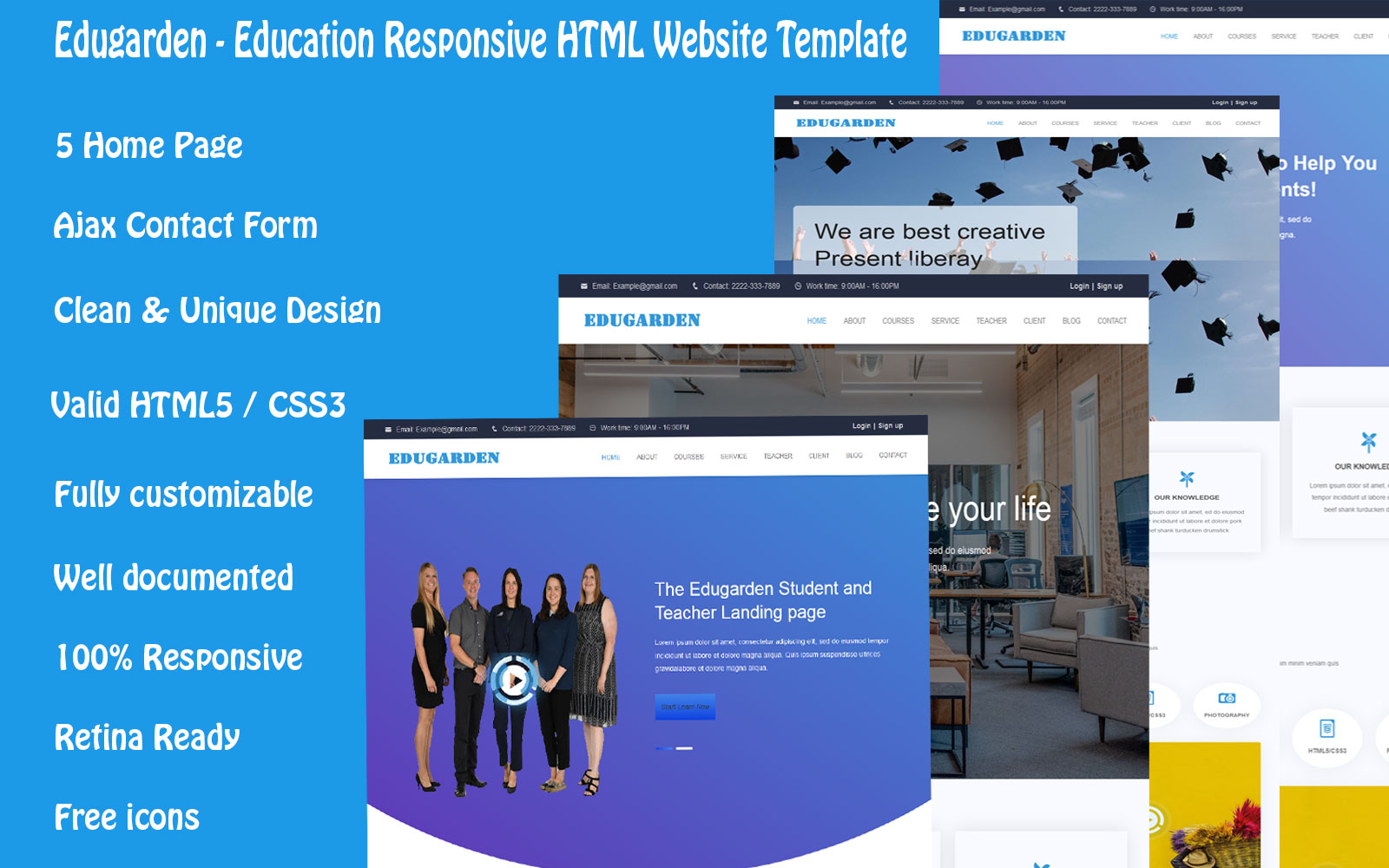 Edugarden - Education Responsive Landing Page Template