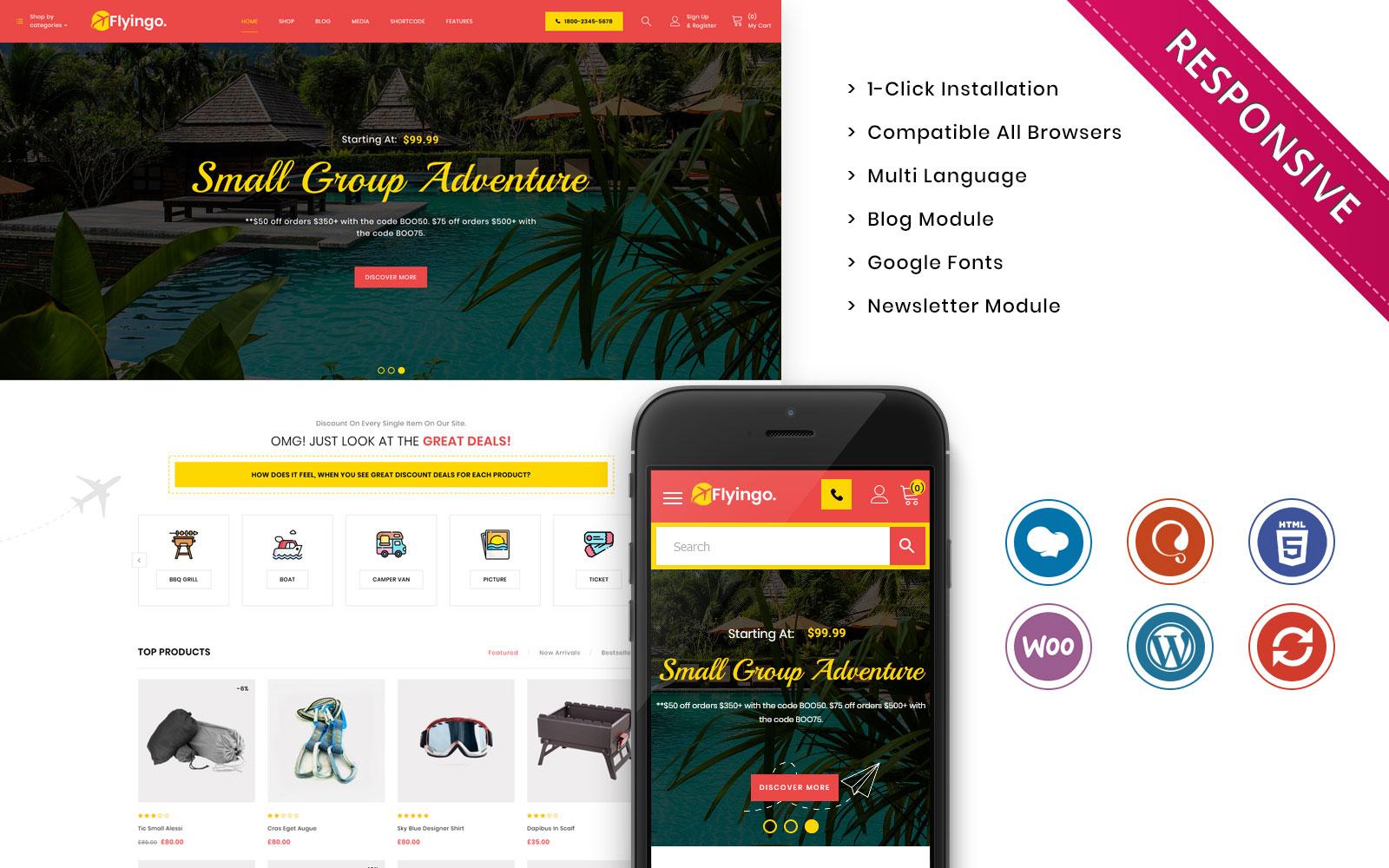 Flyingo - Travel, Tour, Travel Agency Responsive WooCommerce Theme