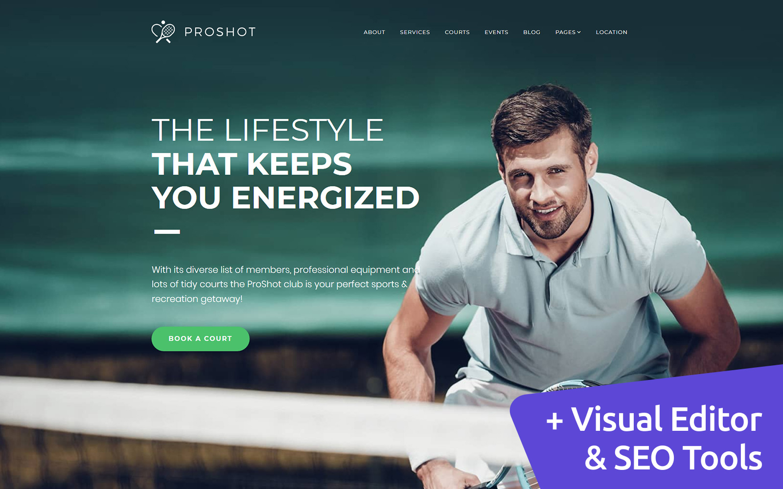 ProShot - Tennis Club Moto CMS 3 Template