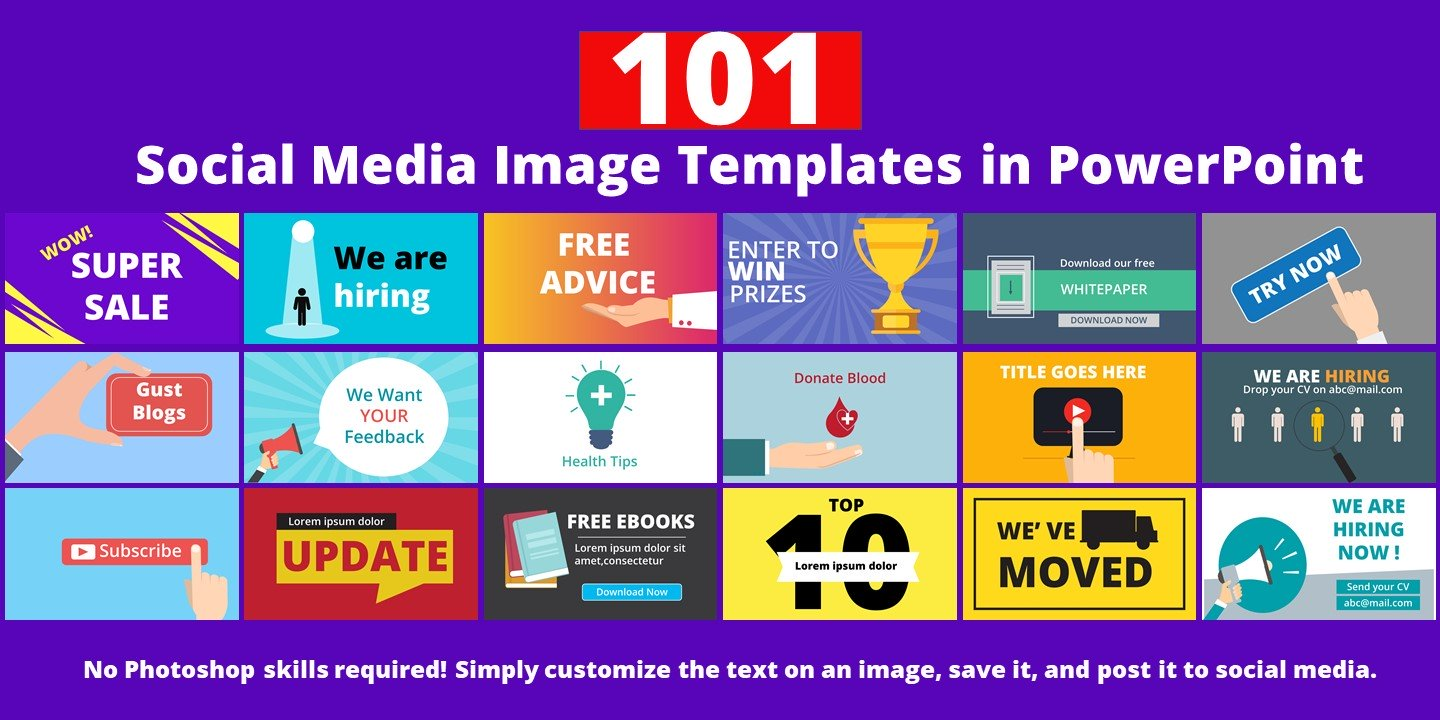 101 Social Media Image in PowerPoint Template