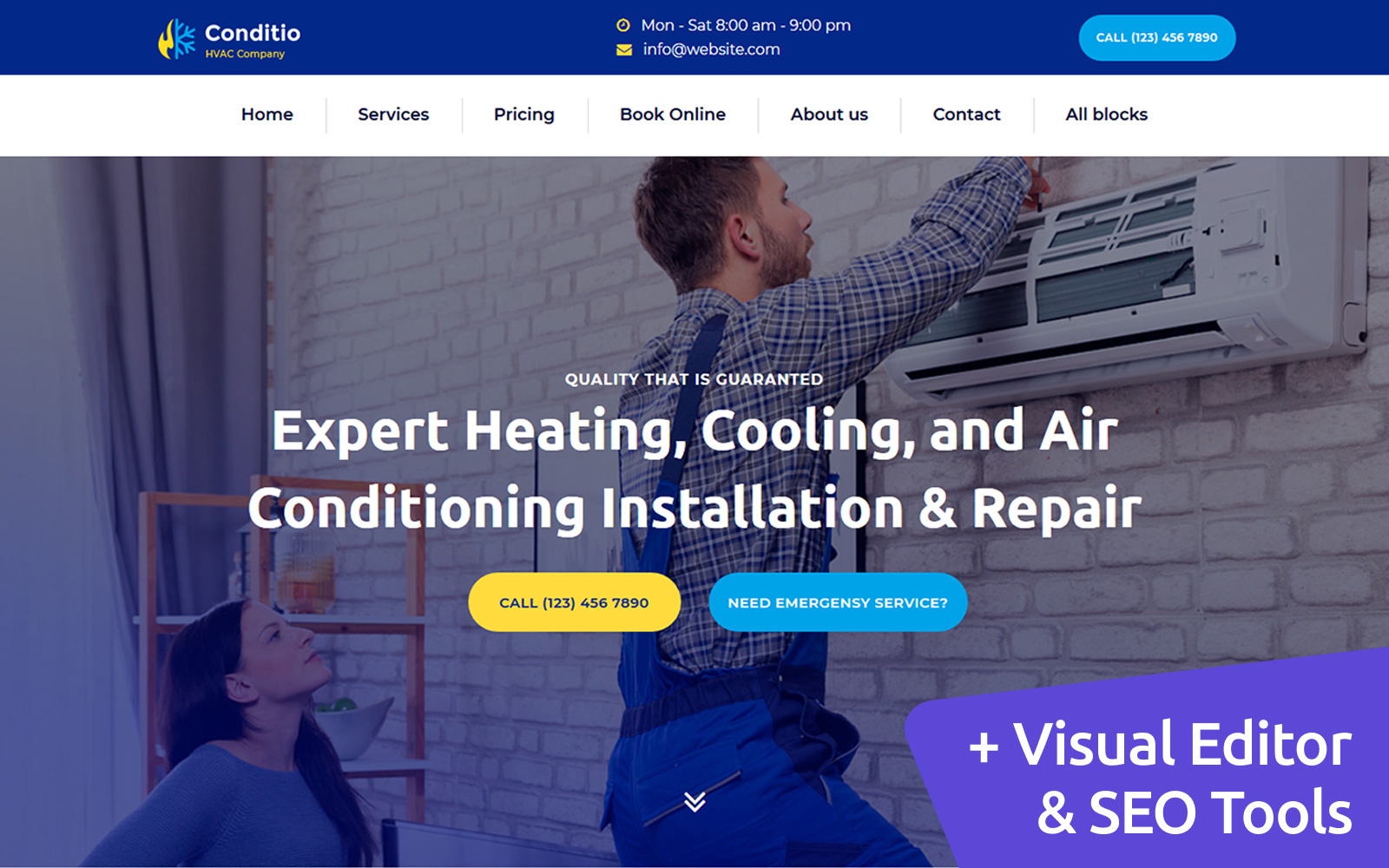Conditio - HVAC Company MotoCMS Landing Page Template
