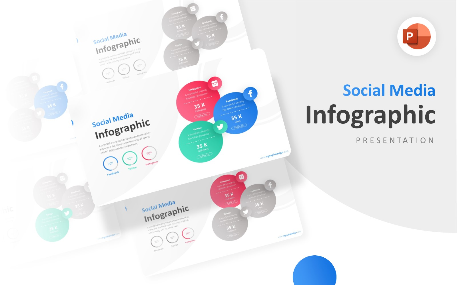 Three Circle Options Infographic Presentation PowerPoint Template