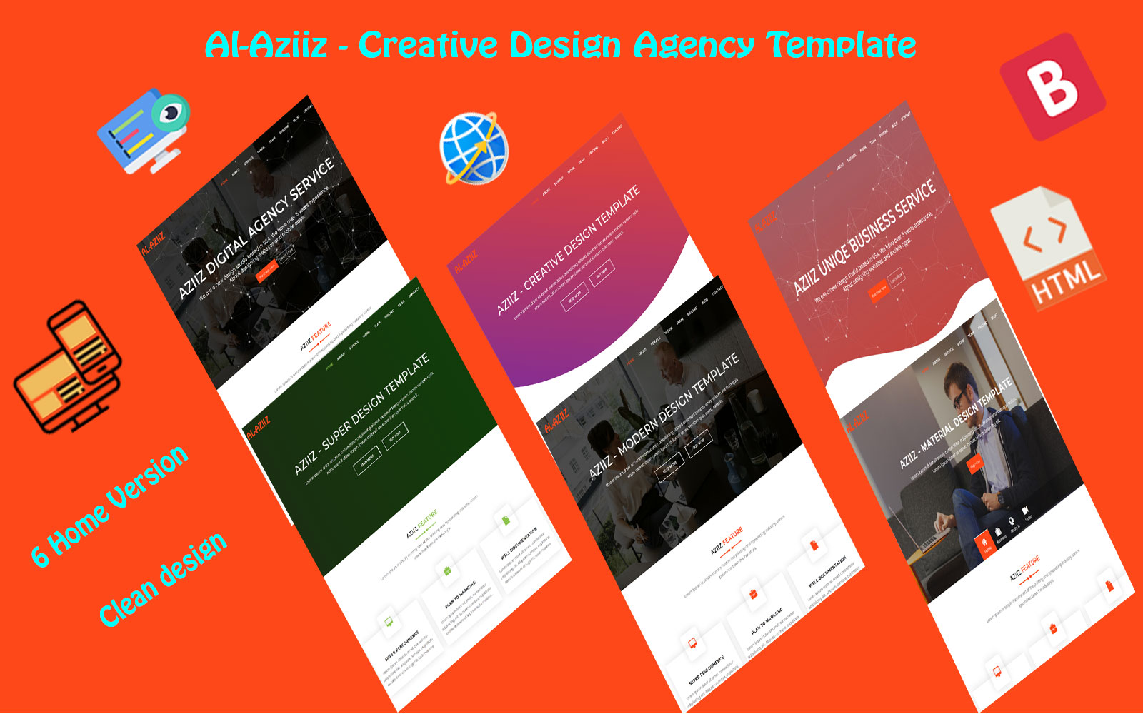 Al-Aziiz - Material Design Agency Landing Page Template