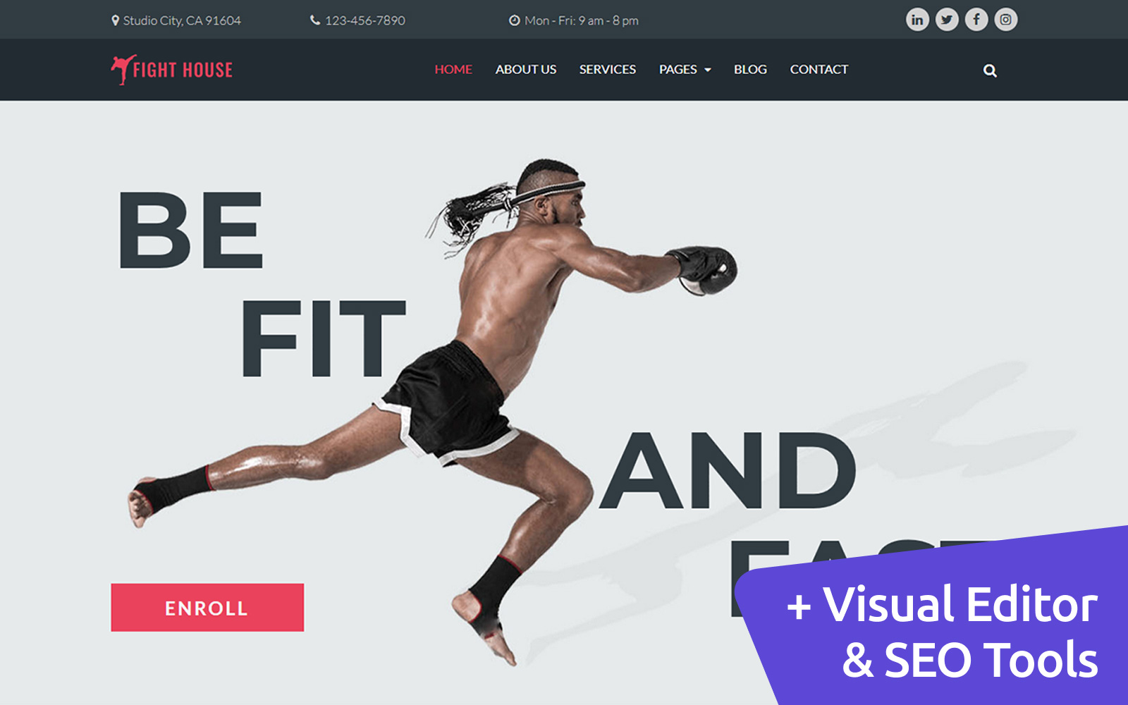 Fight House - Martial Arts Moto CMS 3 Template