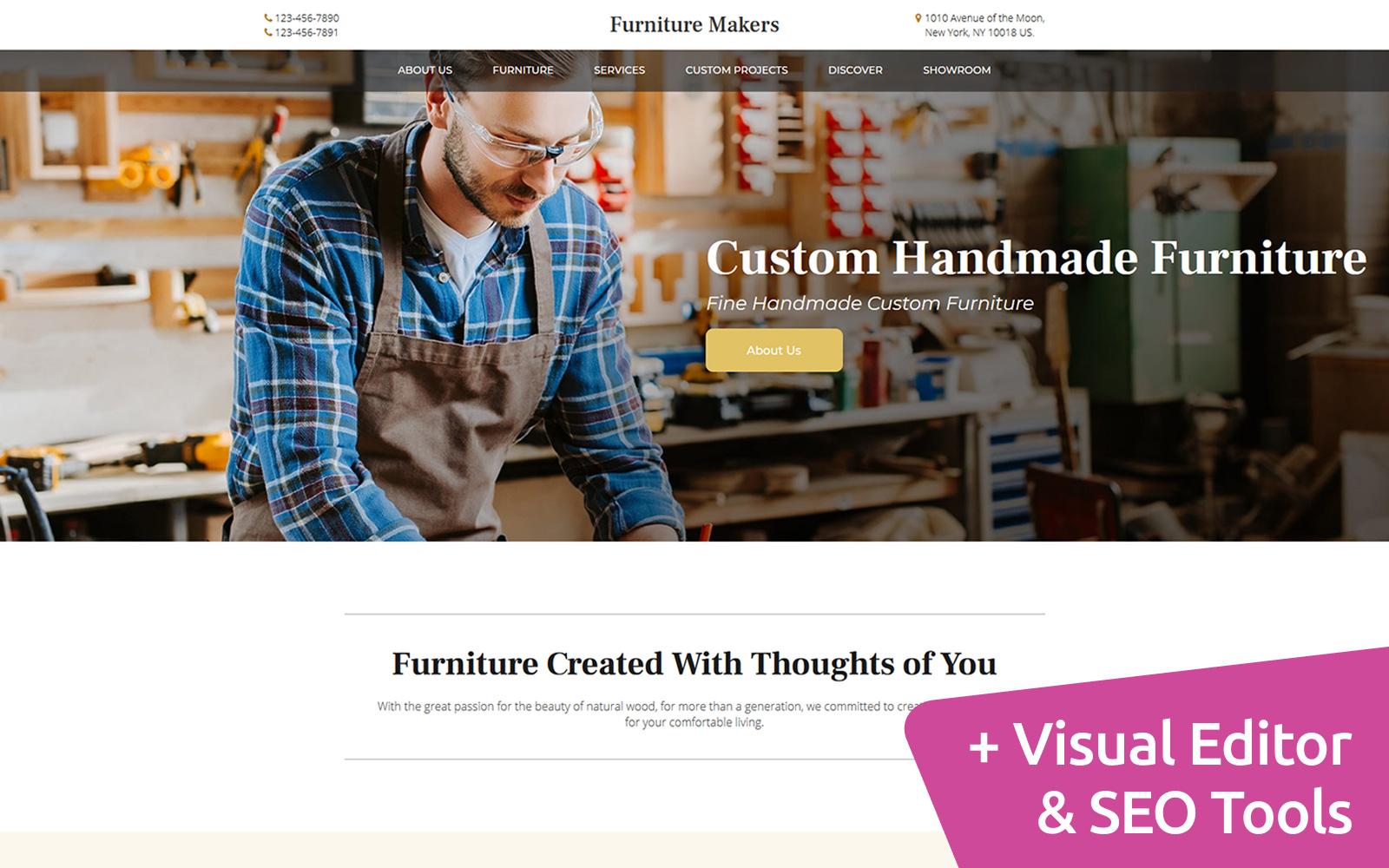 Furniture Makers MotoCMS Landing Page Template