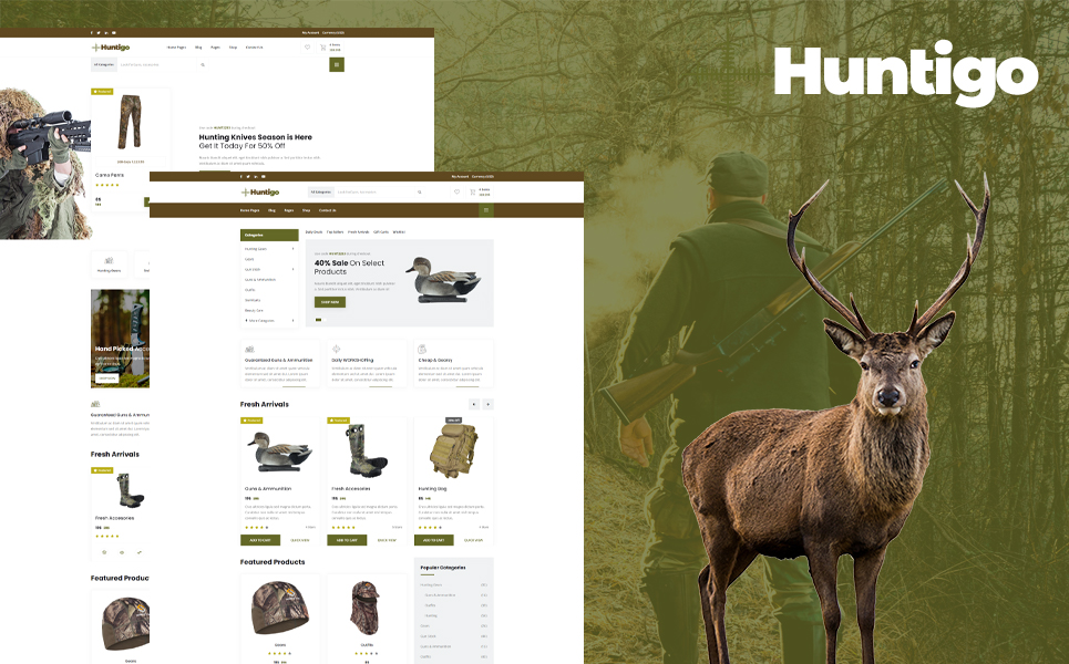 Huntigo - Hunting & Ammunition HTML Website Template