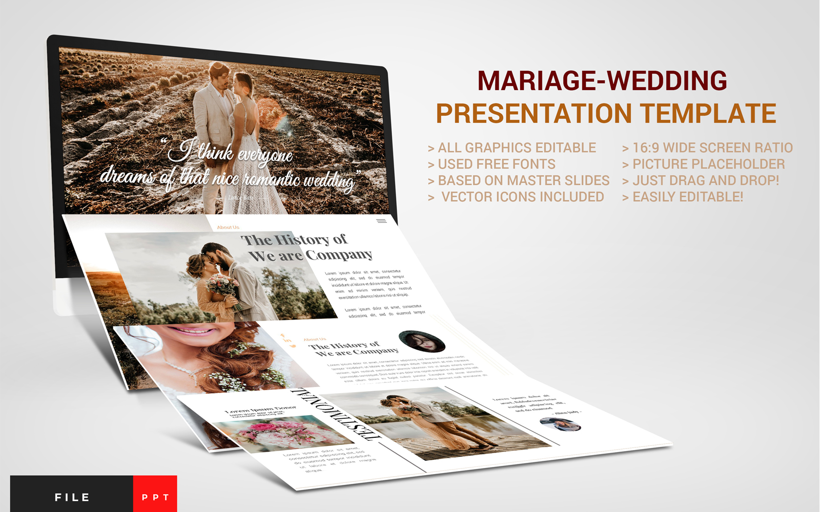 Mariage-Wedding Presentation PowerPoint Template
