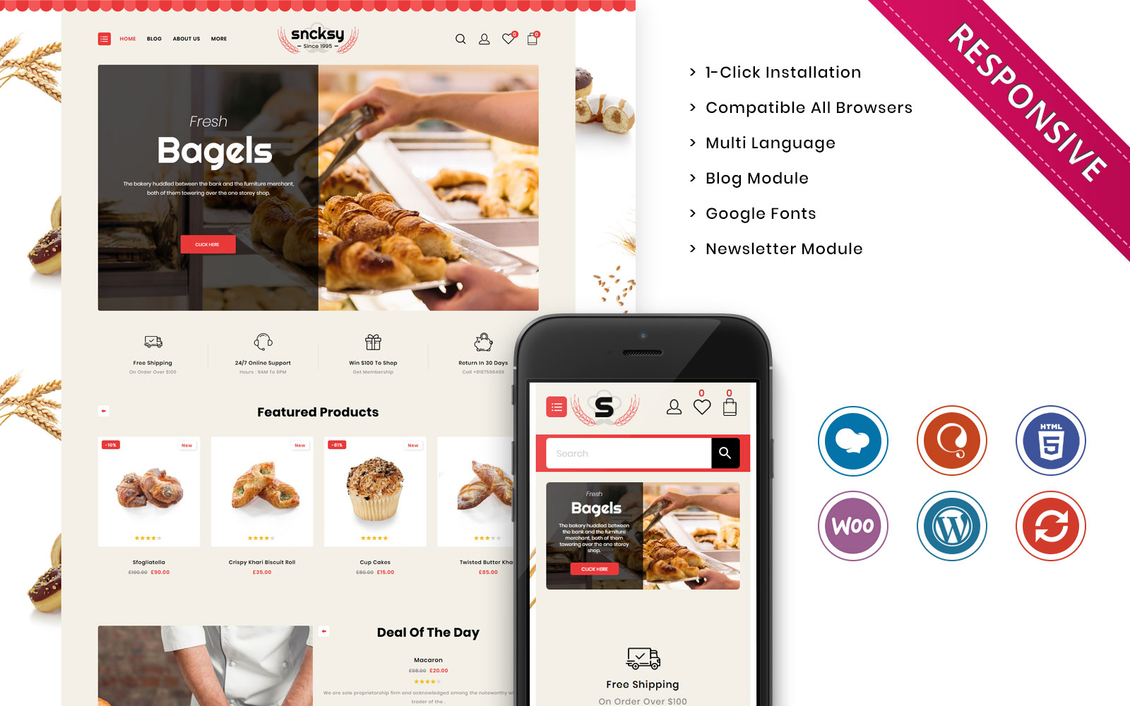 Sncksy - The Bakery Store Responsive WooCommerce Theme