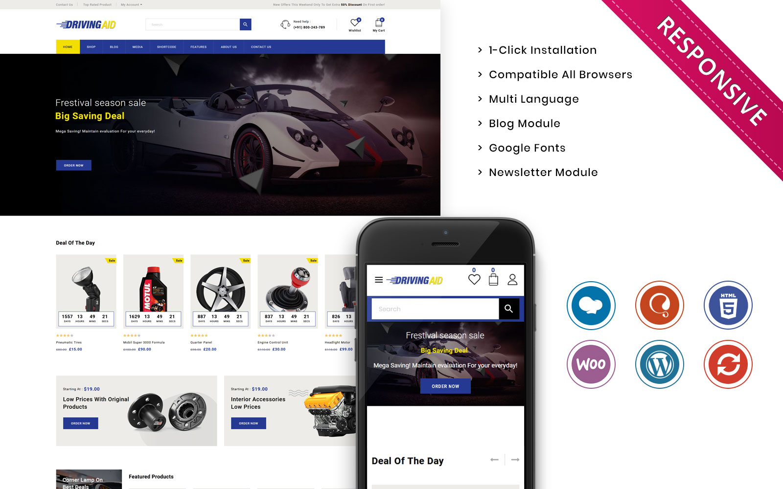 Drivingaid - The Automobile Store Responsive WooCommerce Theme