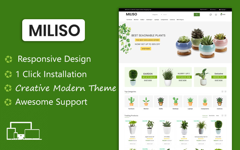Miliso Plants Ecommerce Shopping OpenCart Template
