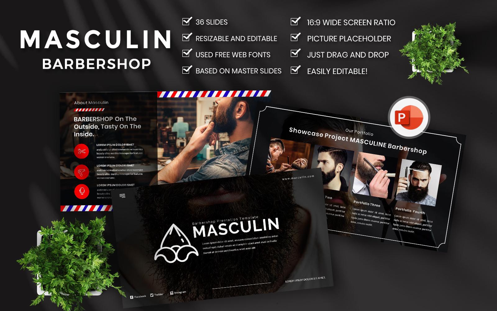 Masculine Barbershop PowerPoint Template