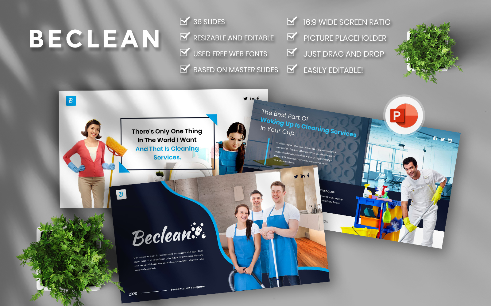 Beclean  Cleaning Services Business PowerPoint Template