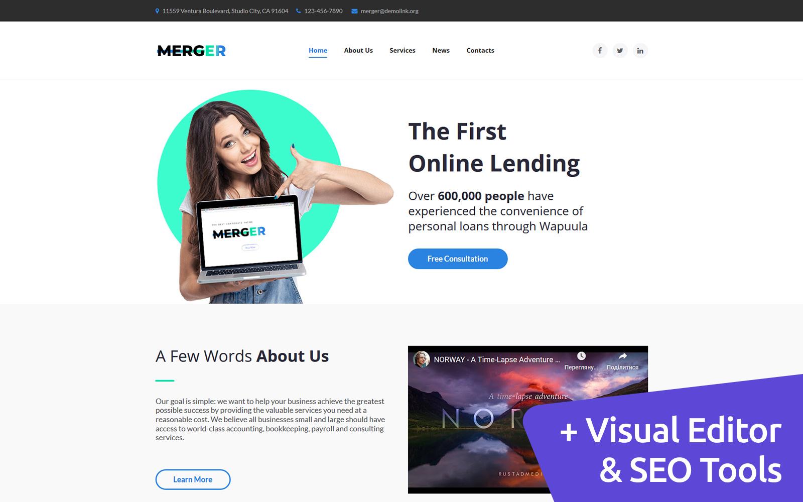 Merger - Business & Finance Moto CMS 3 Template