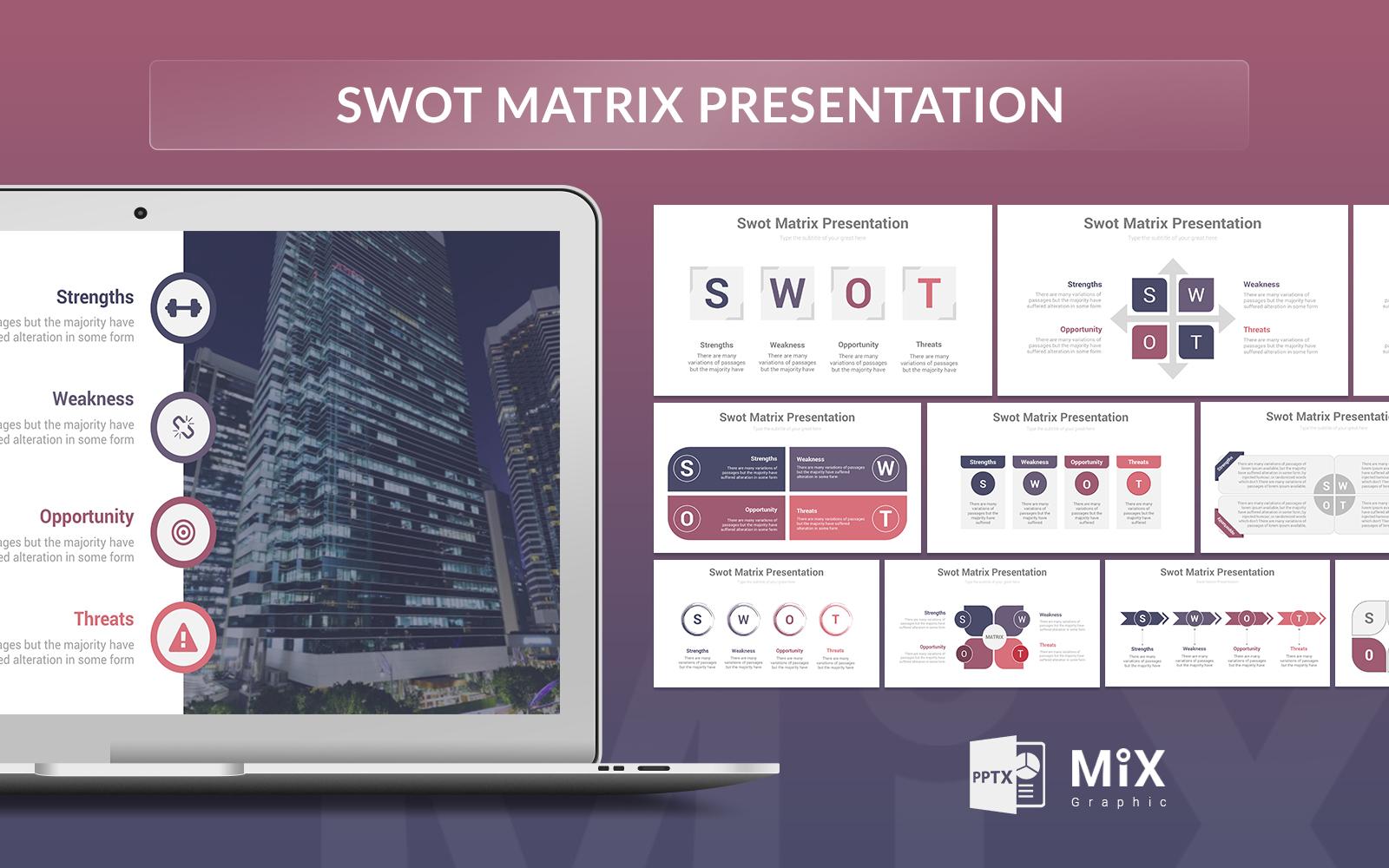 Swot Matrix Presentation PowerPoint Template