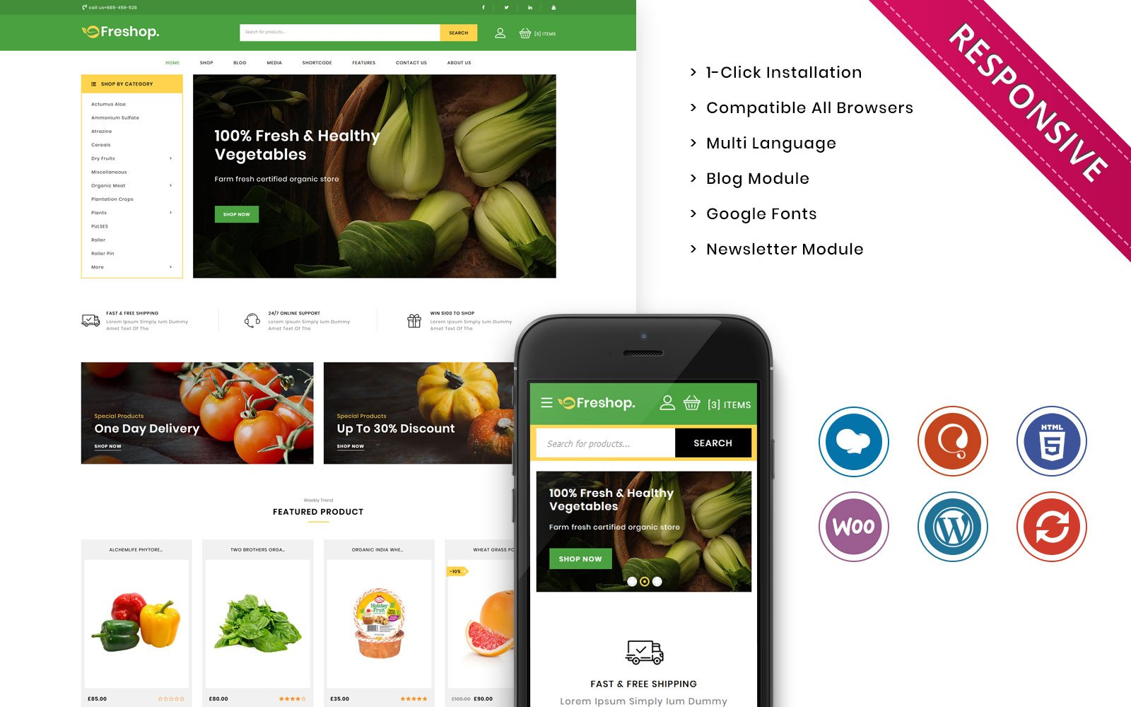 Freshop - The Grocery Store Responsive WooCommerce Theme