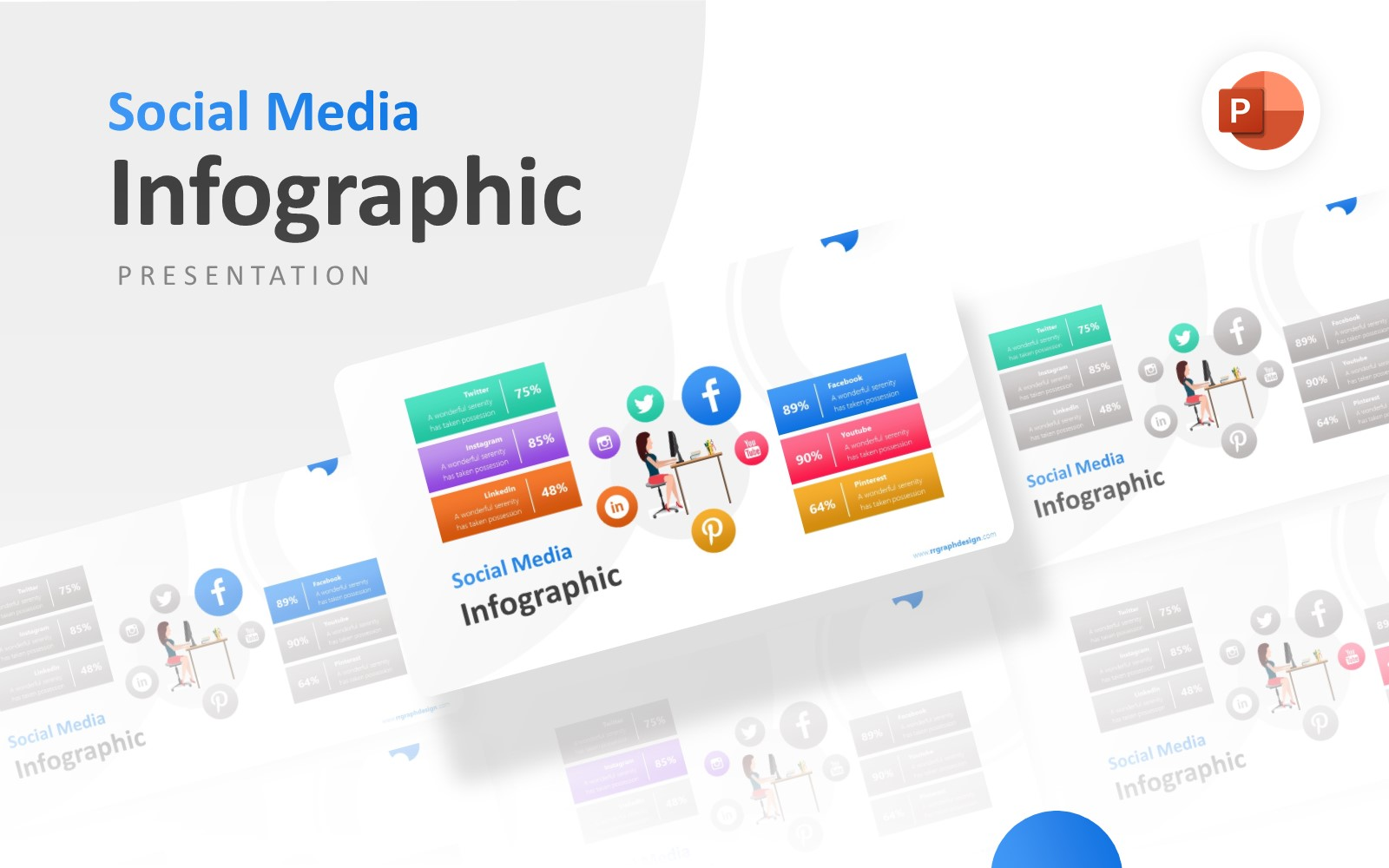 Six Options Social Media Marketing Infographic Presentation PowerPoint Template