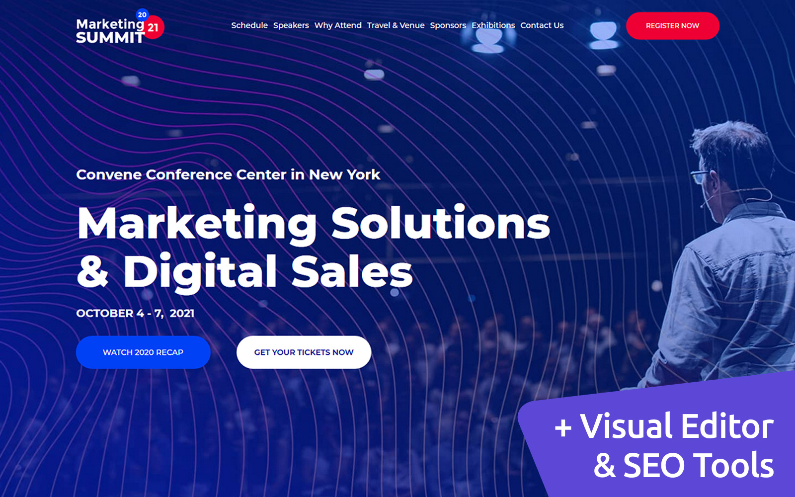 Conference Web Design Moto CMS 3 Template