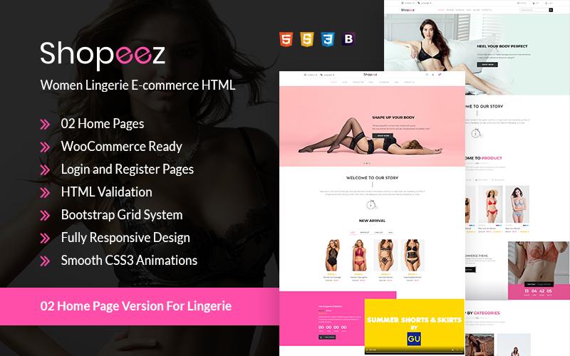 Shopeez - Women Lingerie E-commerce HTML Website Template