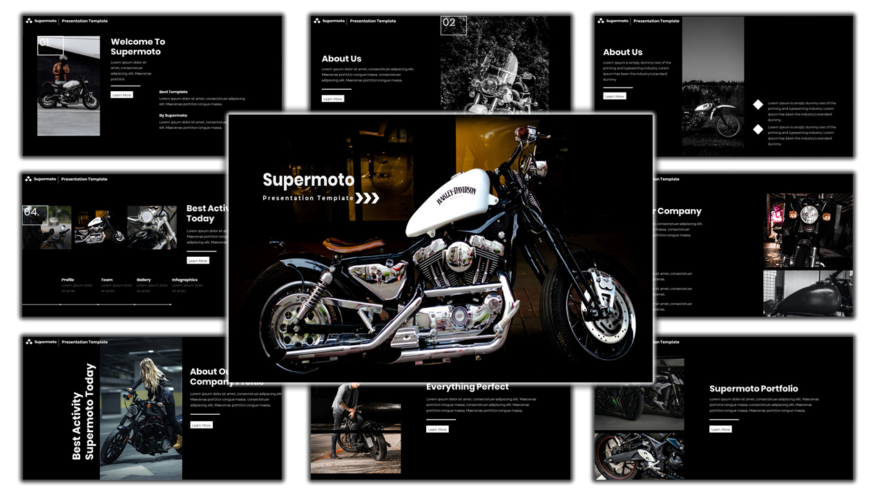 Motorcycle Supermoto PowerPoint Template