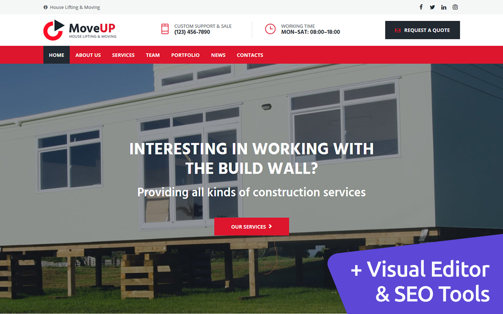 House Lifting and Moving Company Moto CMS 3 Template