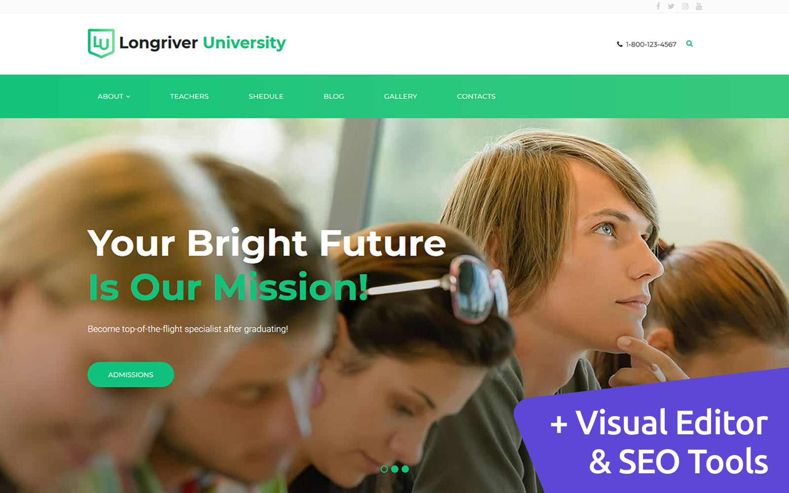 Longriver University Moto CMS 3 Template