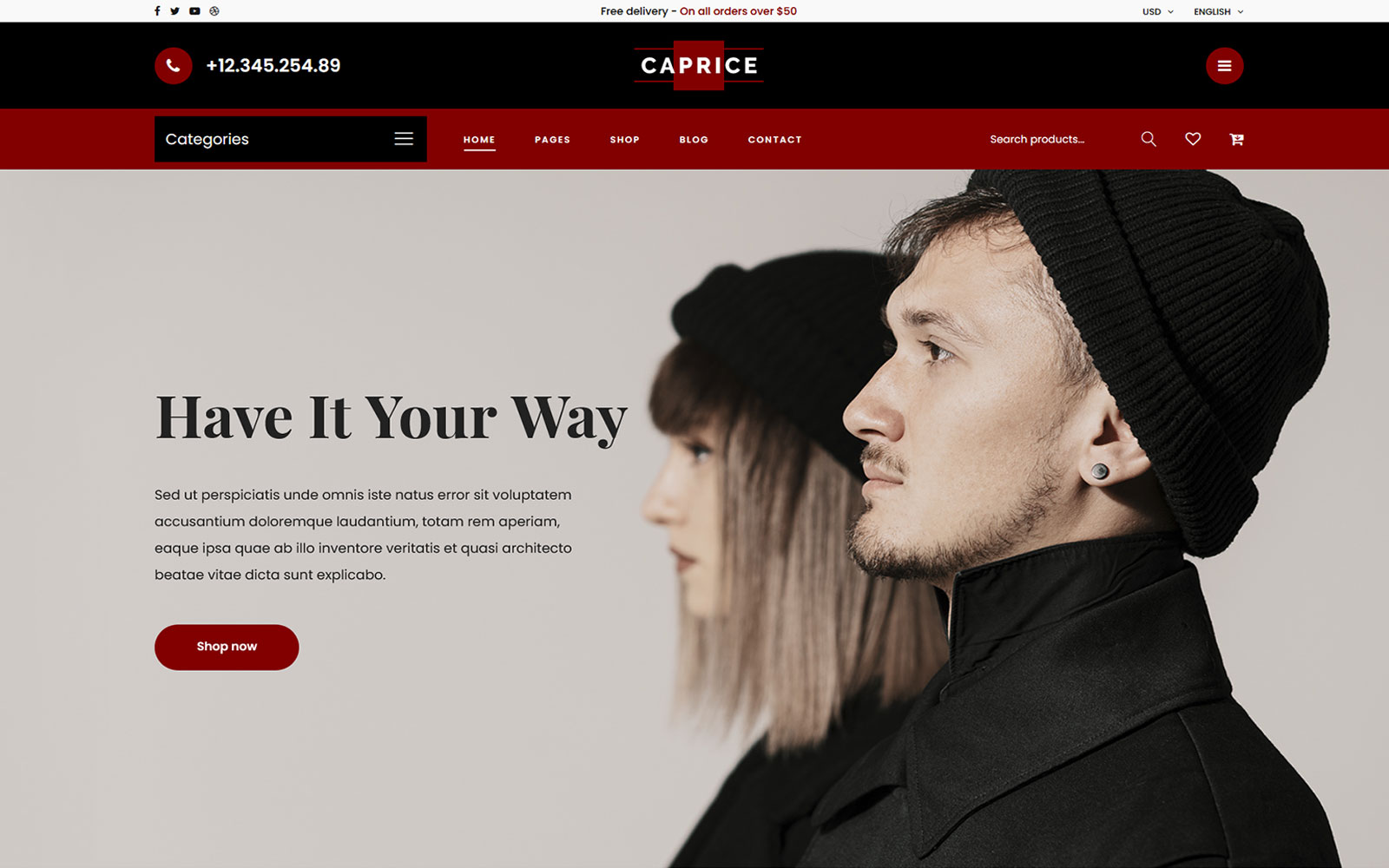 Caprice - Multipurpose eCommerce HTML Website Template