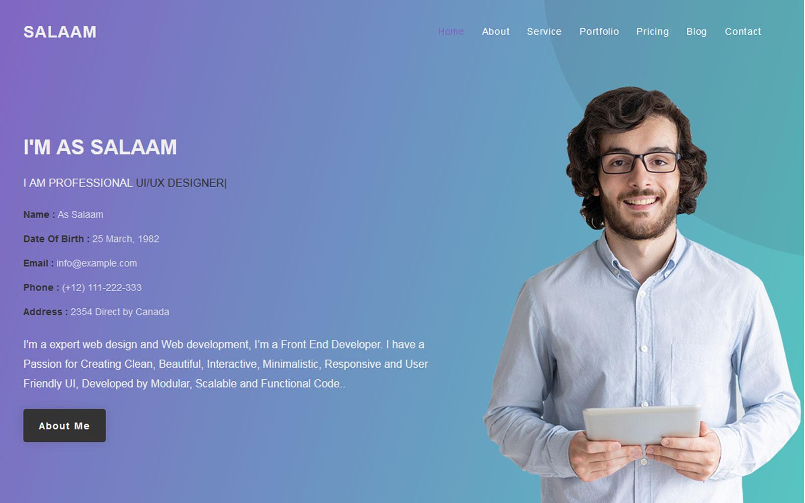 As Salaam - Personal Portfolio Responsive Landing Page Template
