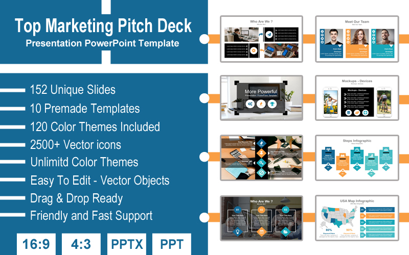 Top Marketing Pitch Deck Presentation PowerPoint Template