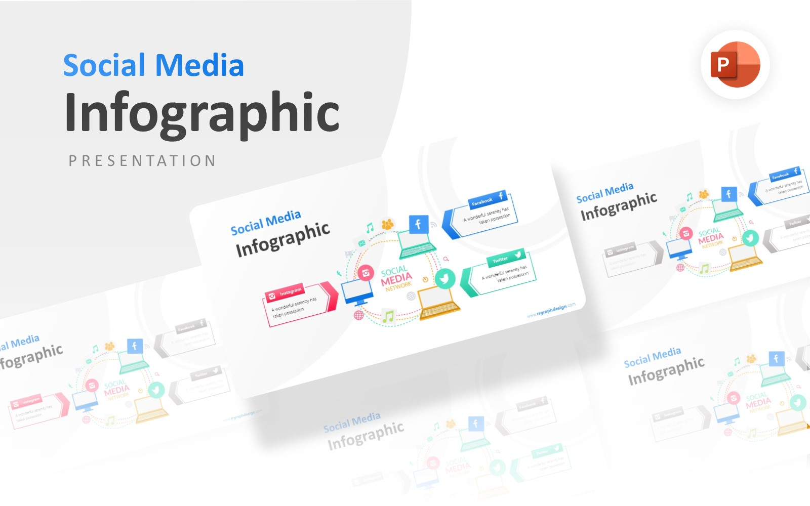 Laptop Illustration With Social Media Infographic Presentation PowerPoint Template
