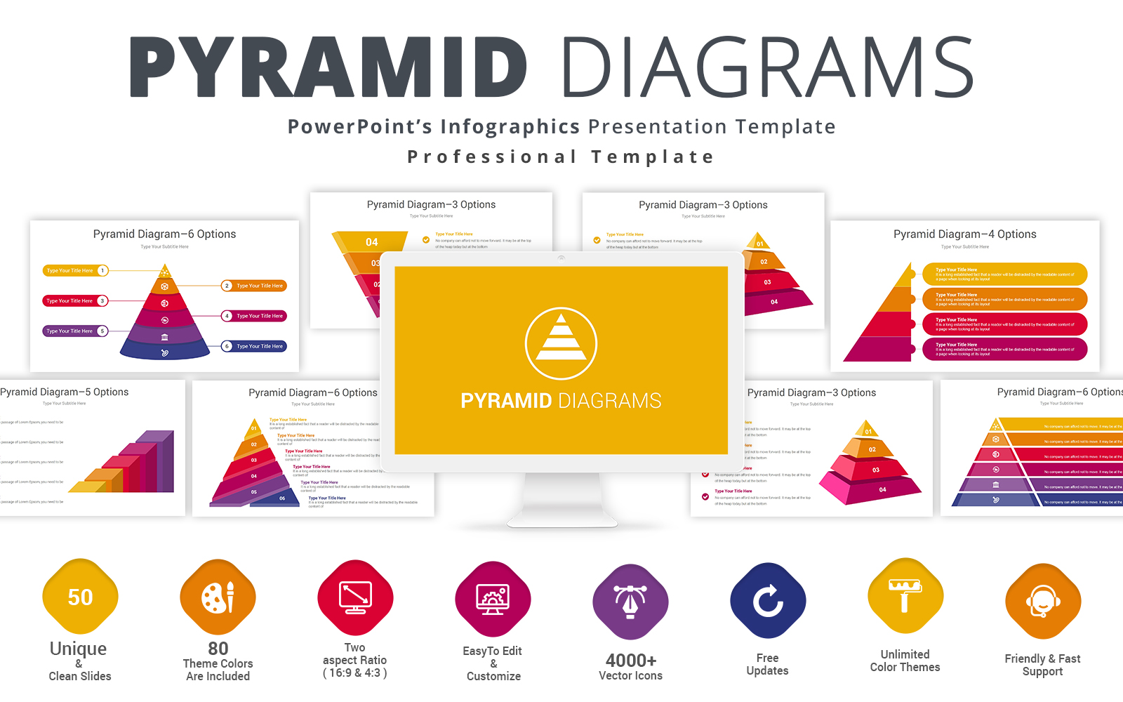 Pyramid Diagram Presentation PowerPoint Template