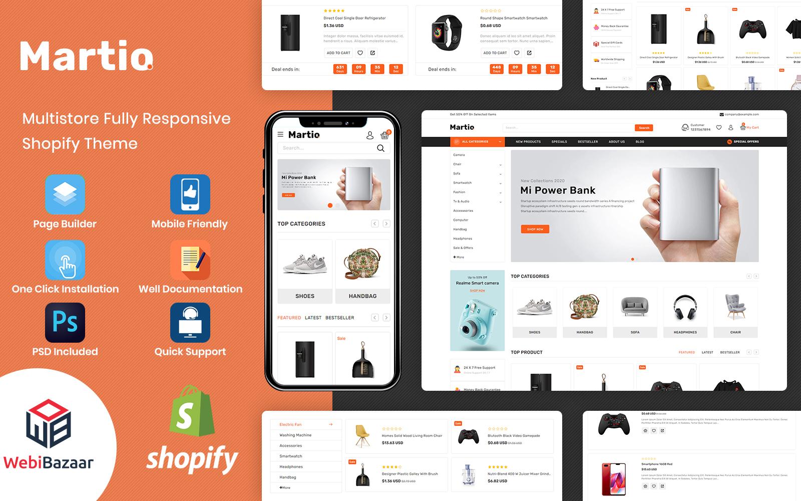 Martio - Minimal & Modern MultiStore Shopify Theme