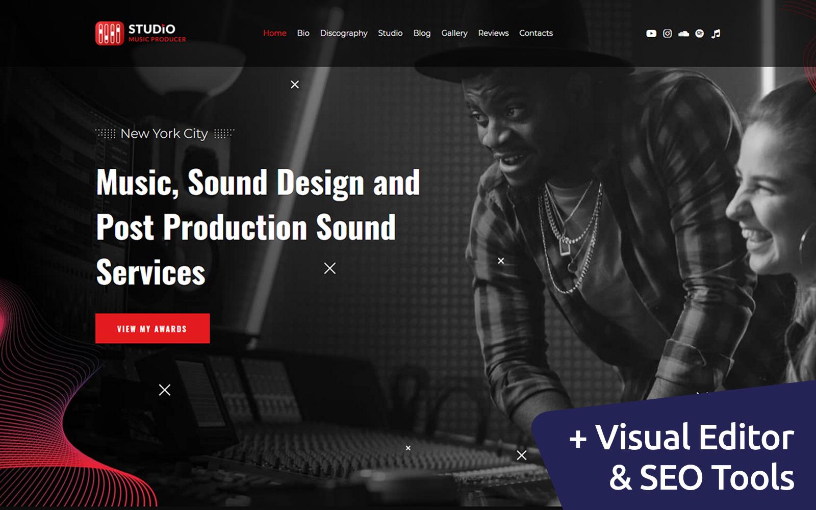 Studio - Music Producer Moto CMS 3 Template