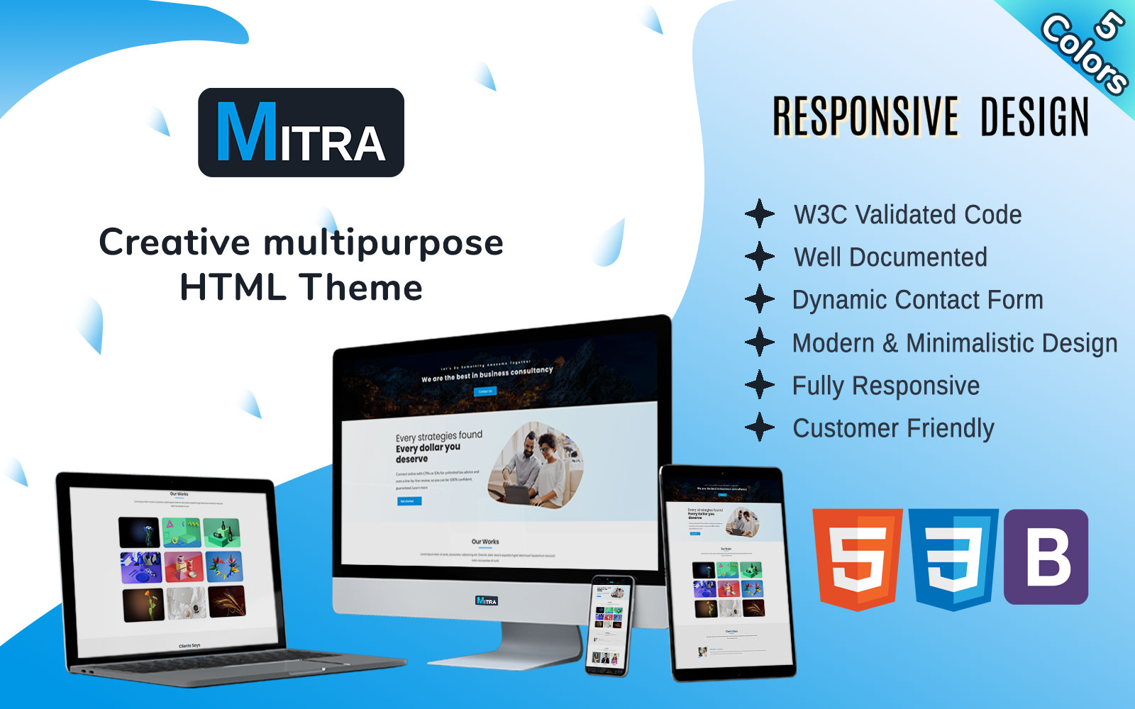 Mitra - Creative One Page Multipurpose Landing Page Template