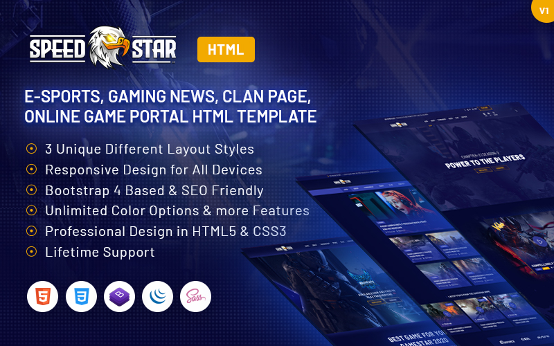 Speedstar - eSports Gaming HTML Website Template